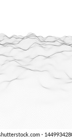 Abstract landscape on a white background. Cyberspace grid. hi tech network. Depth of field. 3d illustration