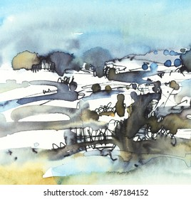 Abstract landscape, painting watercolor art background
