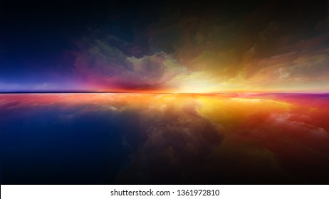Abstract landscape. Perspective Paint series. Abstract background made of clouds, colors, lights and horizon line on the theme of illustration, painting, creativity and imagination
