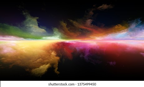 Abstract landscape. Perspective Paint series. Backdrop of  clouds, colors, lights and horizon line for projects on illustration, painting, creativity and imagination