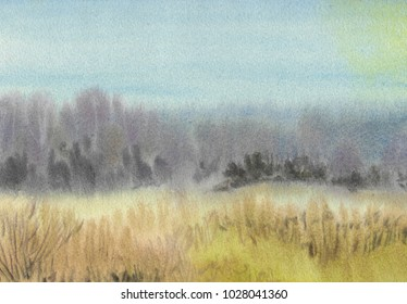 Abstract landscape watercolor painting background