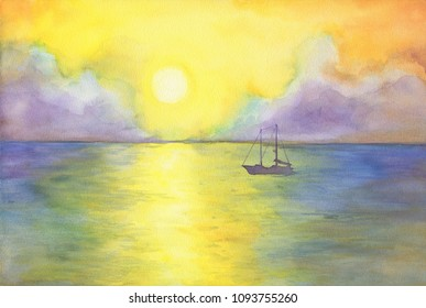 5ca7c1492 Abstract landscape with a yacht in ocean. View of sea, sun, cloudy sky
