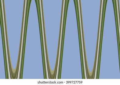 Abstract Of Large Greenish Sine Waves On Slightly Desaturated Blue For  Decoration And Background With Motifs