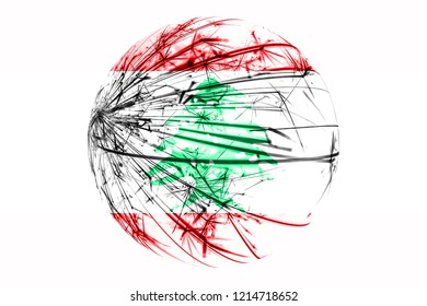 Abstract Lebanon sparkling flag, Christmas ball concept isolated on white background