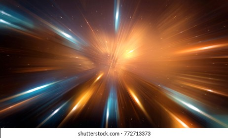 Abstract lens flare space or time travel concept background. 3d Illustration