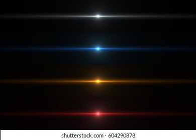 Abstract Lens Flares Collection. Glowing stars. Lights and Sparkles on Transparent Background. Shining borders.