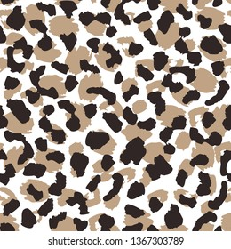 Abstract leopard skin seamless pattern. Animal fur wallpaper. Wild african cats repeat illustration. Concept trendy fabric textile design