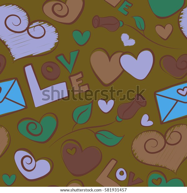 Abstract letter, hearts and rose flower. Amazing seamless pattern for design, fashion, stationery. Seamless doodle pattern in romantic brown and green colors.