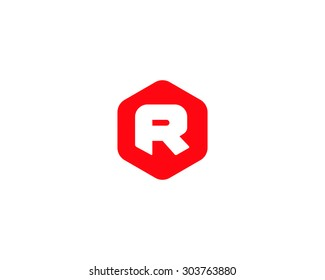 Abstract letter R logo design template. Colorful creative hexagon sign. Universal icon.