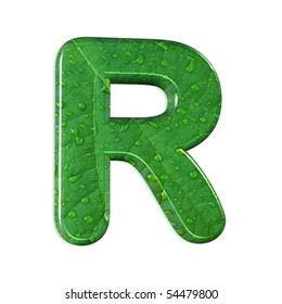 abstract letter r;style: waterdrops on a leaf