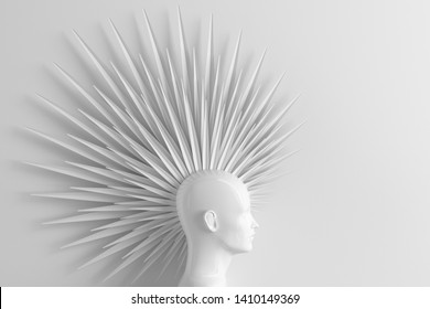 Abstract light background with female profile and stylized defiant fashionable Mohawk hairstyle 3D illustration
