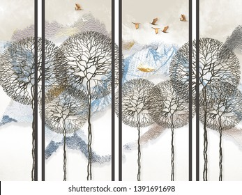 Abstract light background, gray vertical lines, snow-capped mountains, fabulous trees and flying birds