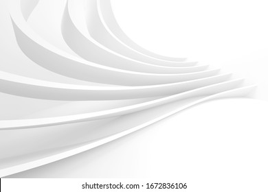 Abstract Light Background. Minimalistic Graphic Design. Perspective 3d Rendering