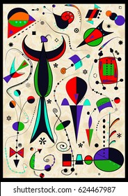 Abstract light background, style Miro `French painter