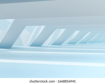 Abstract light blue interior background. Parametric architecture template. 3d rendering illustration
