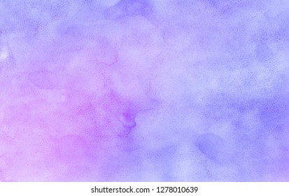 Abstract light blue, purple and pink shades watercolor background. Aquarelle paint paper textured canvas for design, greeting card, template. Multicolor gradient handmade illustration