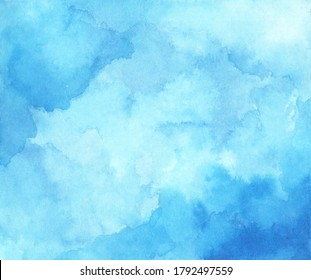 Abstract light blue watercolor for background.
