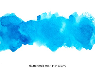 abstract light blue watercolor drawing stroke background art painting stain texture