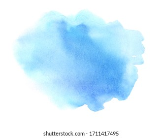 Abstract light blue watercolor painting on white background for card, wallpaper, print. Abstract aquarelle sky color hand drawn soft grunge element for text design, web, blank.