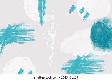 Abstract light gray background with blue and while brush strokes and paint splashes. Modern hand drawn textures. Trendy abstract design for paper, cover, fabric, interior decor and other users.