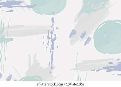 Abstract light gray background with green and purple brush strokes and paint splashes. Modern hand drawn textures. Trendy abstract design for paper, cover, fabric, interior decor and other users.
