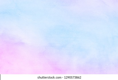 Abstract light sky blue, pink and purple shades aquarelle background. Watercolor paper textured illustration for design, vintage card retro templates. Smooth pastel colors wet effect hand drawn canvas