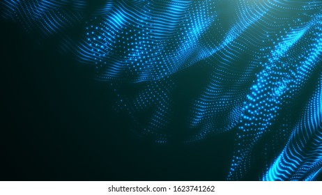 Abstract light wave background. Bright luminous glowing lines. Dynamic lights shape on dark background.
