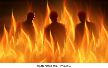 abstract lighted silhouettes of three persons in hell