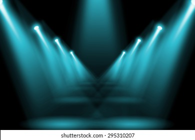 Abstract lighting flare on the floor center stage.