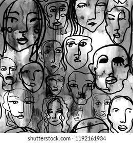 Abstract line art texture with human faces. Hand-drawn raster seamless pattern with portraits in modern style.
