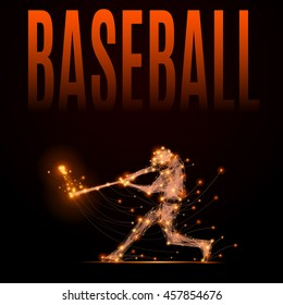 Abstract line baseball player in motion. Silhouette of a man made of lines and points. Polygonal background baseball competitions. Fire style illustration. A raster copy