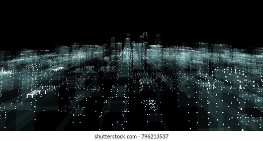 Abstract line connection on night city background. 3d illustration