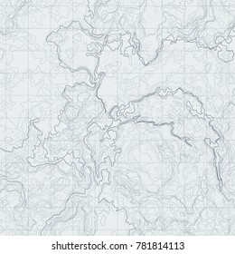 Abstract line contour terrain map with different relief. Topographic illustration for navigation