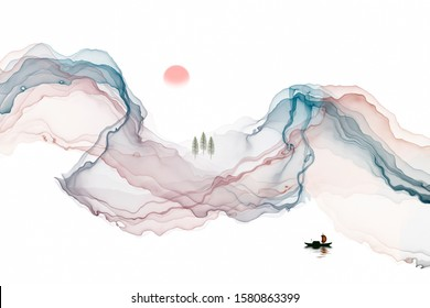 Abstract line ink landscape decoration painting