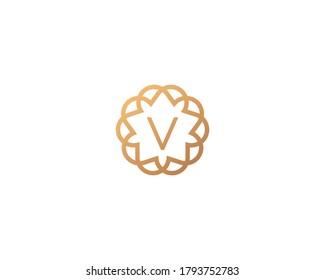Abstract linear monogram letter V logo icon design modern minimal style illustration. Premium alphabet round wreath frame line emblem sign symbol mark logotype.