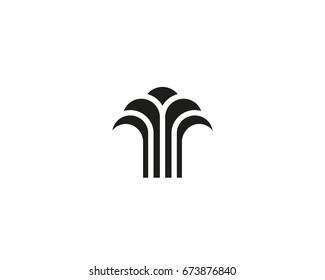 Abstract linear tree fountain building finance logotype. Universal luxury palm harvest park spa beach logo
