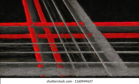 Abstract lines, artistic background in oil paints. Digital structure of painting