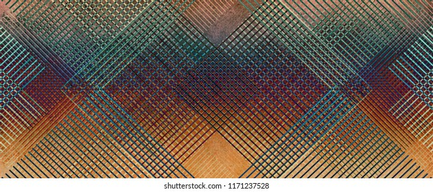 abstract lines and diamond shape pattern on red orange background, woven grill or grid illustration