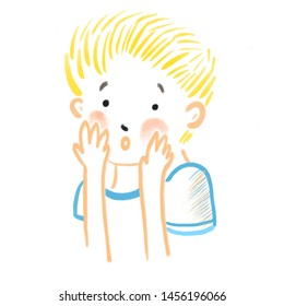 Abstract little embarrassed boy with blush on his cheeks covering face with his hands. Human emotions, fright, embarrassment. Fear for an awkward situation, prank. Little naughty confused