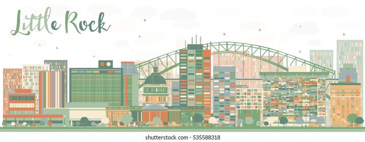 Abstract Little Rock Skyline with Color Buildings. Business Travel and Tourism Concept with Modern Architecture. Image for Presentation Banner Placard and Web Site.