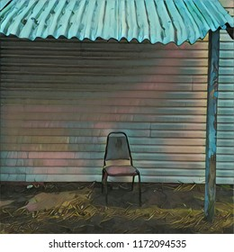 Abstract Lone Chair Positioned On Porch With Tin Roof Overhang In Teal Green