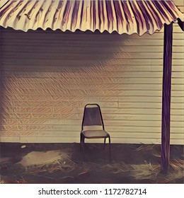 Abstract Lone Chair Positioned On Porch With Tin Roof Overhang In Rusty Bronze