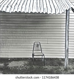 Abstract Lone Chair Positioned On Porch With Tin Roof Overhang In White