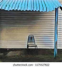 Abstract Lone Chair Positioned On Porch With Tin Roof Overhang In Caribbean Blue
