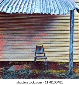 Abstract Lone Chair Positioned On Porch With Tin Roof Overhang In Ramshackle Blue And Pink