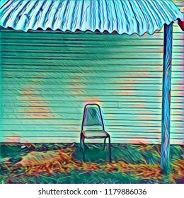 Abstract Lone Chair Positioned On Porch With Tin Roof Overhang In Pastel Meld