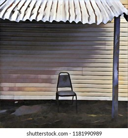 Abstract Lone Chair Positioned On Porch With Tin Roof Overhang With Midday Shadow