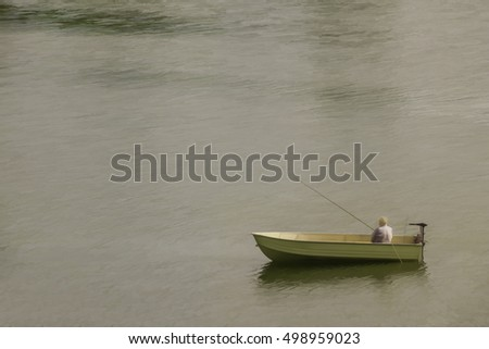 Setting Sun Spotlights Solitary >> Abstract Lone Fisherman Small Boat Anchor Stock Illustration
