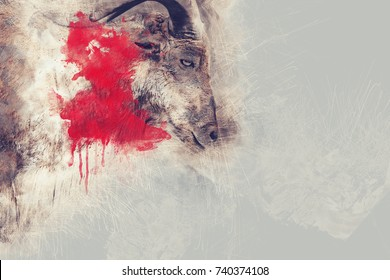 Abstract The loss of deer in the wild on watercolor painting background.