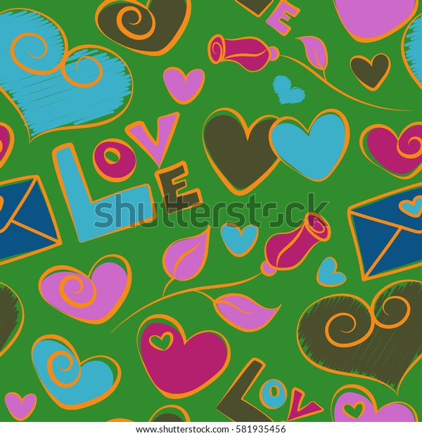 Abstract love elements contains of hearts, rose flower, love text and love letter. Hand drawn. Seamless pattern Valentines day background in green, violet and blue colors.